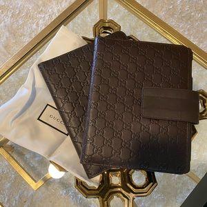 Gucci IPad Leather Case Brown